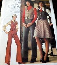 *LOVELY VTG 1970s VEST, PANTS, & SKIRT Sewing Pattern 10/32.5
