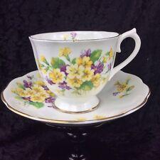 Vintage Royal Albert Teacup & Saucer Set Primrose & Violets 1950's First Quality