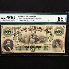 $5 1860s Citizens' Bank of Louisiana, PMG 65 EPQ Gem, Unc, Louisiana, Shreveport