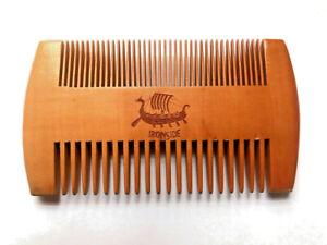 Mens Handcrafted Wooden Beard Mustache Hair Comb Brush Ironside Logo
