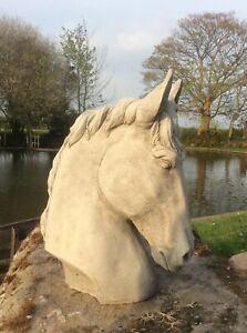 🇬🇧 STONE GARDEN HORSE HEAD FINIAL PILLAR CAP STATUE ORNAMENT 🐎
