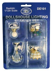 Dolls House Miniature 1/12th  Scale Set of White Wired Ceiling Lights  DE101