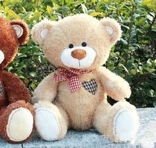 Newest 30cm Teddy Bear Grid Heart Plush Doll Scarf Beige Stuffed Animal Soft Toy