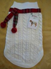 NEW Medium DOG PET CHRISTMAS HOLIDAY SWEATER Cable stitch plaid trim