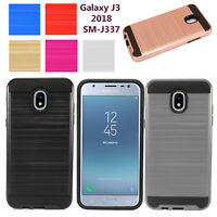 Samsung Galaxy J3 2018 SMJ337 Brushed Metallic Steel Hybrid Dual Protective Case