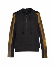 Francis Leon Acid Yellow Leather Black Fleece Owen Hoodie Jacket 6 8 M