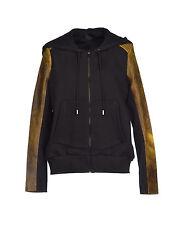 Francis Leon Acid Yellow Leather Black Fleece Owen Hoodie Jacket 6 8 M