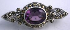 Set In Fine Sterling Gorgeous Elegant Victorian Style Amethyst Brooch