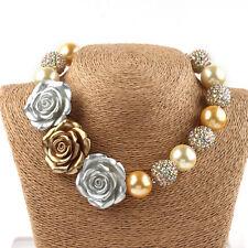 Gold Flowers Chunky Bubblegum kids Baby Necklace Bracelet Jewelry Set Xmas Gifts
