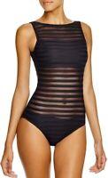 Ralph Lauren NWT $150 Womens Black Ottoman Boat Neck Mesh One Piece Swimwear