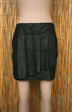 COMPTOIR DES COTONNIERS Jupe courte plissée en peau lamée noire taille 40