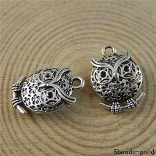 50838 Antique Silver Alloy Hollow Fat Owl Pendants Charms Crafts Findings  14pcs