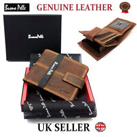 MENS DESIGNER BUONO PELLE QUALITY REAL LEATHER WALLET CREDIT CARD ZIP COIN PURSE