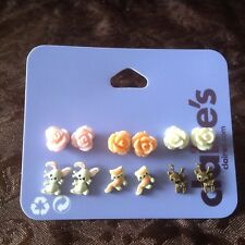NWT Claire's girls set of 6 Woodland Animals and Carved Roses Stud Earrings set