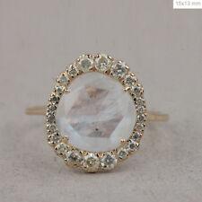 2.13 Ct. Moonstone Gemstone Cocktail Ring Diamond 14k Yellow Gold Fine Jewelry