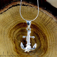 "Authentic 925 Sterling Silver Nautical Anchor Charm Pendant 18"" Chain Necklace"