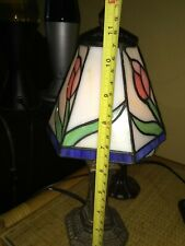 """TIFFANY STYLE STAINED GLASS SMALL (12"""") ACCENT LAMP NIGHTLIGHT PINK GREEN TULIP"""