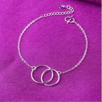 Damen Armband 925 Sterling Silber Fußkettchen Armreif  Doppel Kreis Geschenk Neu