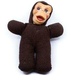 Vintage Antique Creepy Monkey Doll Plush Body Composition Head Scary Halloween