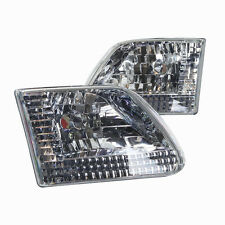 Stealth 1997-2003 Ford F-150 F-250 Expedition Euro Headlights - Chrome/Clear