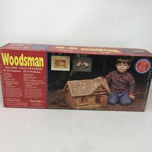 Vintage Dura-Craft Woodsman Real Wood Log Cabin Kit Dollhouse WS 165