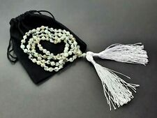 More details for moonstone mala bead japa 6.0mm knotted prayer 108 beads double tassel necklace
