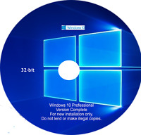 Microsoft Windows 10 Pro 32 bit Installation Disc DVD GENUINE WITH LICENSE KEY