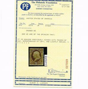 GENUINE SCOTT #O72 FINE MINT OG H PF CERT 1873 BROWN 1¢ TREASURY DEPT OFFICIAL