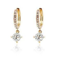 18 K Gold Plated Shiny CLEAR Austrian Crystal Pendant Hoop Earrings Jewelry