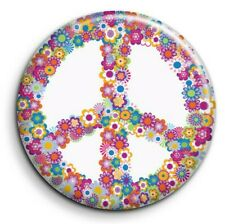 Badge Epingle 38mm Button Pin - Peace and Love - Fleurs 2