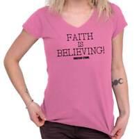 Faith Is Believing Christian Jesus Christ God Womens Juniors Petite V-Neck Tee