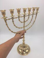 BIG JERUSALEM TEMPLE MENORAH - 7 BRANCHES - 18 INCH HEIGHT (45 CM) BRASS MENORA