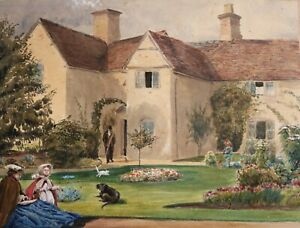 EDWARD HOWMAN - MRS MAY HOWMAN AND CHILD IN THE GARDEN - STUNNING WORK OF ART