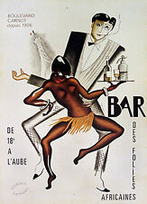 Bar by Paul Colin 1927. African-American Jazz Singer, Josephine Baker. AD Poster