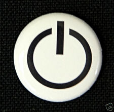 POWER BUTTON - Novelty Fun Computer Button Pinback Badge 1""