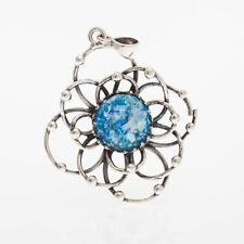 Great 925 Sterling Silver Ancient Roman Glass Garnet Pendant-Unique Jewelry