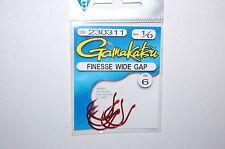 gamakatsu finesse wide gap hook  size 1/0 6 per pack 230311 red senko hooks