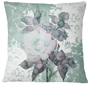 S4Sassy Green Home Decorative Floral Print Pillow Case Square Cushion-YeD