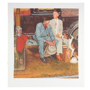 """""""Breaking Home Ties"""" by Norman Rockwell Lithograph on Arches Paper Ettinger Inc"""