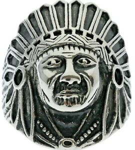 Native American Chief Face Head Headdress stainless steel men's ring size 12 T58