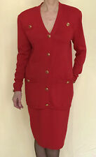 ST. JOHN KNIT SZ 10 SUIT SKIRT JACKET SANTANA  BELT BUTTONS POCKETS RED