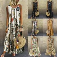 Women Plus Size Dress Bohemian O-Neck Floral  Vintage Sleeveless Long Dress FR