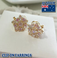 18CT Gold Plated Clip On Earrings With Clear Crystal Flower