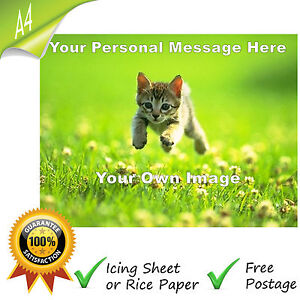YOUR OWN IMAGE PERSONALISED PHOTO MESSAGE EDIBLE A4 CAKE TOPPER