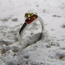 Size 9 (EU Size 60) Size 9 Multi-Color BALTIC AMBER Ring SILVER #1952