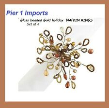 Pier 1 ( Set 4 ) beaded Glass  Napkin Rings Holders