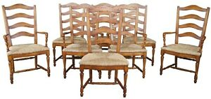 8 Guy Chaddock Country French Ladderback Rush Seat Dining Chairs Farmhouse