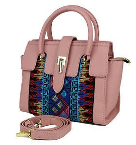 Kleine Tasche Handtasche Azteken-muster Ethno Umhängetasche Stickerei Rosa Pink