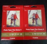 "2x Lot Canon PP-301 Photo Paper Plus Glossy II (4 x 6"", 100 Sheets) 200 Total"