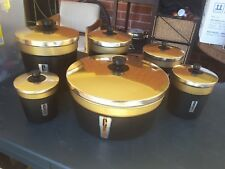 Vintage 6 pieces black gold Anodised Stacking Canister Set 1950's Kitchenalia
